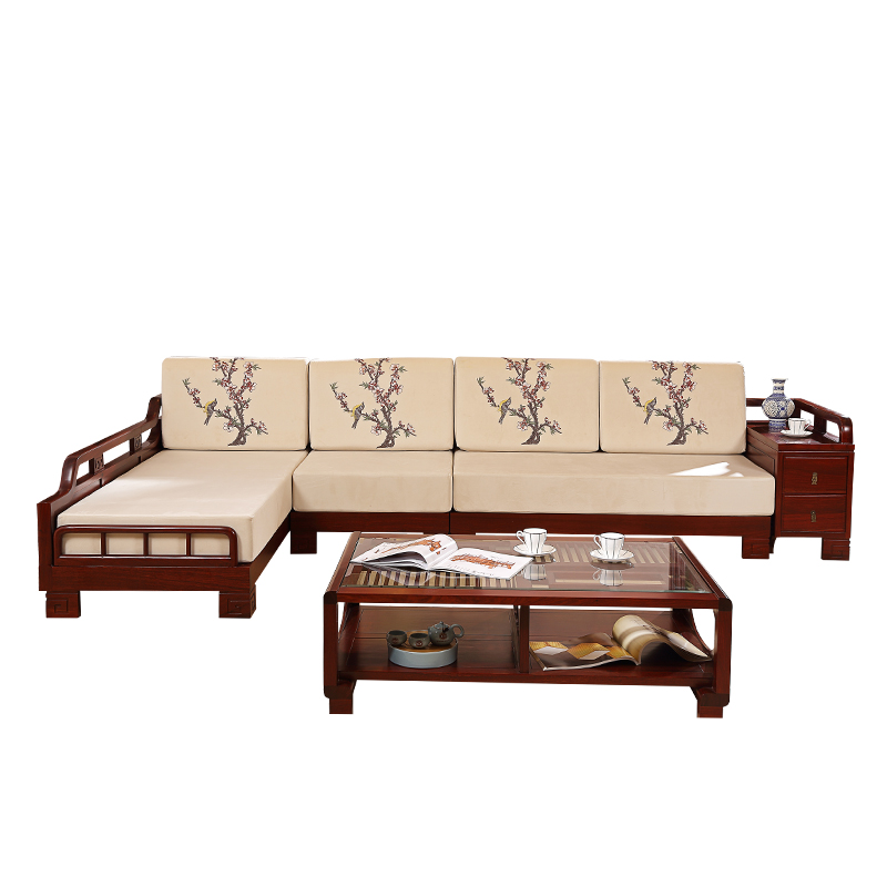 Chinese antique style rosewood design livining room funiture wooden sofa set designs