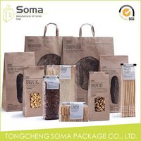 Competitive price professional brown tote kraft paper shopping bag