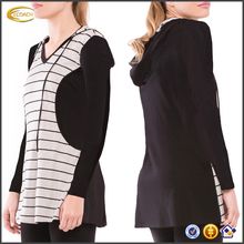 Ecoach 2016 Long Sleeve 95% Rayon 5% Spandex Hooded Maternity Nursing Tunic Tops