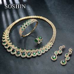 SOSHIN Brand Unique Bridal Wedding 4 Pieces Jewelry Set Top Quality AAA CZ Ring Earring Bracelet Necklace Marriage Set TJ017