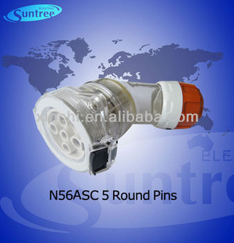 56ASC540 ip66 angled extension socket round pins SAA approved from 10A to 50A