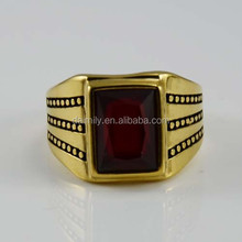 China alibaba fashion goldern stainless steel jewelry with rectangular red gemstone rings for men wholesale