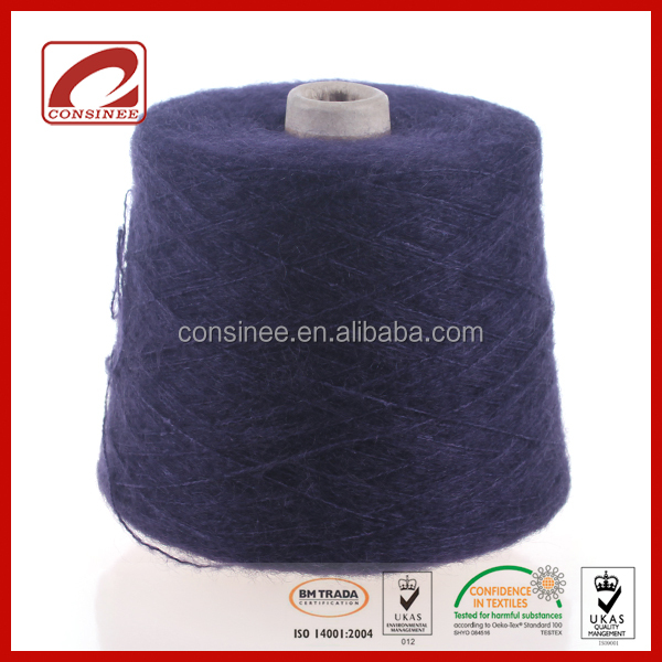 Consinee cone dyed yarn 36% Mohair 24% Wool 40% Silk supersoft textured yarn