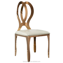 Rose gold infany dining chair brushed stainless steel double round back gold chair LH-621Y