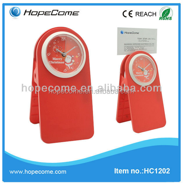 (HC1202) promotional gifts desktop digital clip clock plastic tray