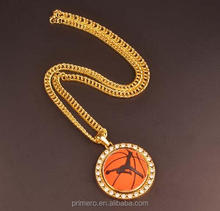 Fashion Jewelry Gold Rhinestone Basketball Pendant Punk Metal Chain Necklace