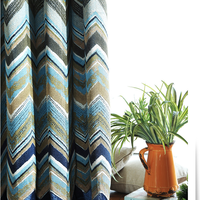 American style custom blue linen striped jacquard curtain fabric modern fashion jacquard blackout window curtain