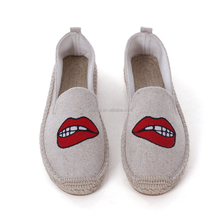 Hot Sale Fashion Cute Style Red Lips Pattern Lady Cloth Shoe