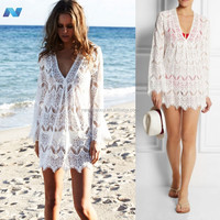 Stylish Lady Women's Fashion Sexy Long Sleeve V-neck Hollow Out Mini Dress Bikini Lace Cover-up