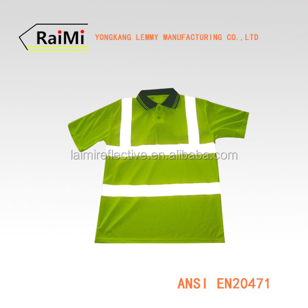 OEM Manufactury supply factory mens polo shirt red safety work shirt high visibility safety polo shirt