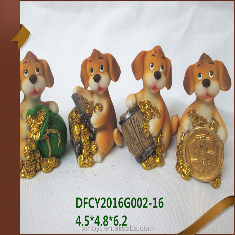 Chinese zodiac animal figurines polyresin dog piggy coin bank sculpture statues resin dog figurines