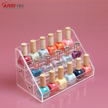 acrylic makeup organizer hold 18 bottles 3 tiers acrylic nail polish display rack