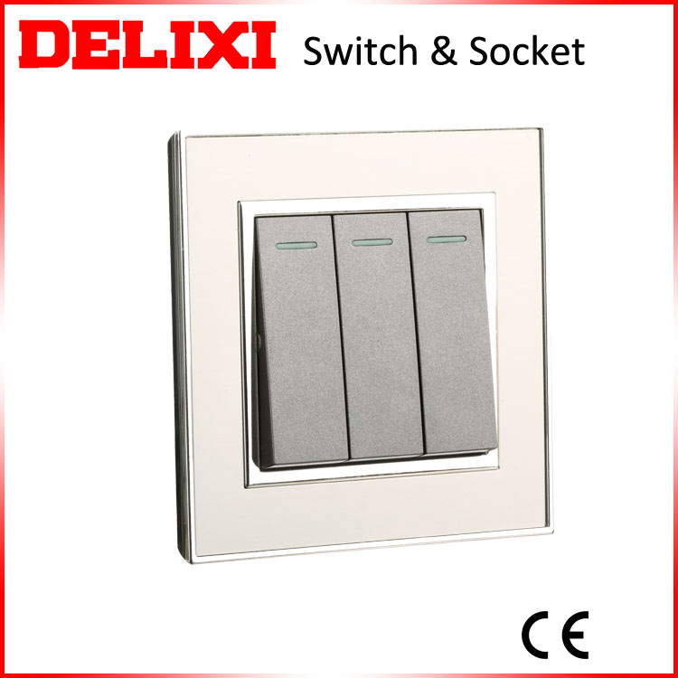 UK style stainless steel 3 gang 1 way wall <strong>switch</strong> with fluorescent light