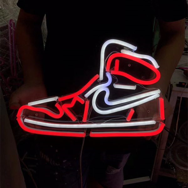 Electronic 12v factory waterproof custom shoes acrylic flash advertising led flex neon light <strong>sign</strong>