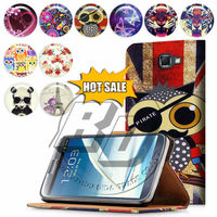 For Samsung Galaxy Note 2 Case Print Flip PU Folio Wallet Book Style Leather Case Cover Moible Phone Csaes