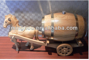 4.5/5L Mini wood wine storage barrel, wine barrels on carriage