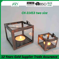 Metal hanging candle lantern with copper plated finish with handle CH-31453 two size