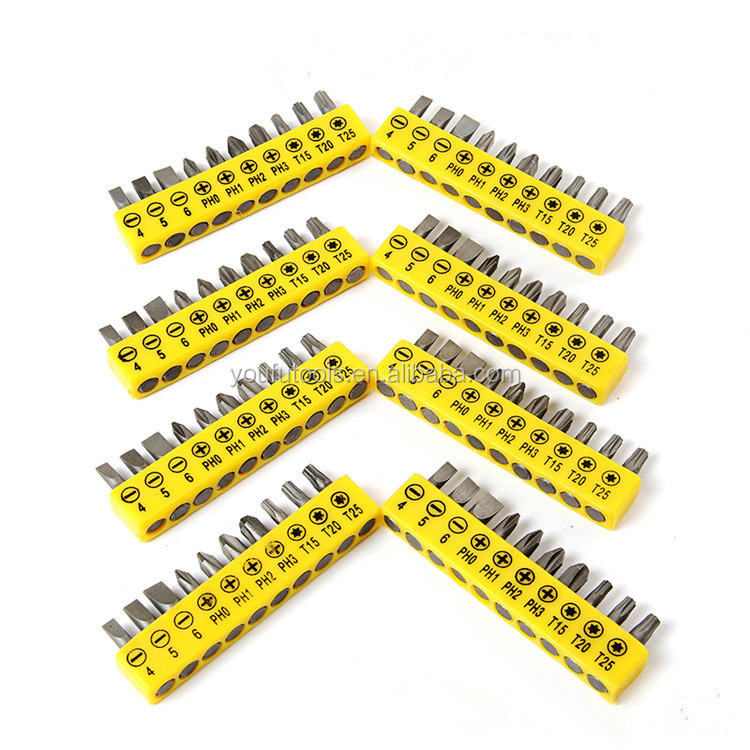 10pcs/12pcs China Factory Security Screwdriver Bit Set Magnetic Torx Star Hex Bit In Yellow Plastic Display Shelf