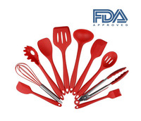 10 pcs in 1 set FDA marked red silicone kitchen heat resistant cooking utensils set