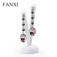 FANXI Wholesale Unique V Shape Earrings Ear Stud Display Shelf Stand White PU Leather Bendable Metal Jewelry Display Rack
