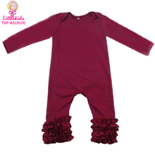 Wine Long Sleeve Long Leg Icing Ruffle Baby Clothes Romper Fall Solid Color Baby Girl Icing Romper