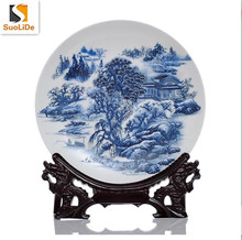Chinese style elegant ancient painting blue and white porcelain plate decorative ceramic wall plate chinese style plate