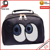 2016 high-end PU cosmetic bag women portable travel makeup case hot -seling toiletry bag with big eyes printing