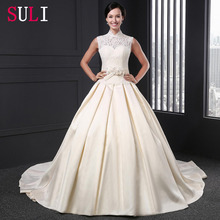 Q-16 Attractive High Neck Satin Open Back Lace Wedding Dress 2016