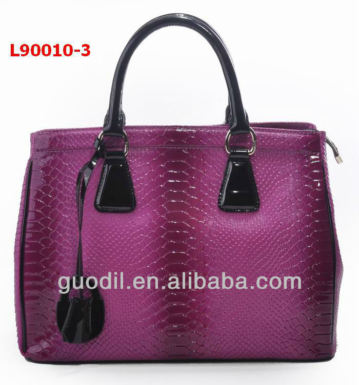 New arrival patent snake embossed with black patent medium leather bag brand famous women handbags