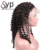 Curly Lace Front Wig, Thick High Density 130% Color Natural Black #1b Elastic Net Swiss Lace Wigs with Comb and Adjustable Strap