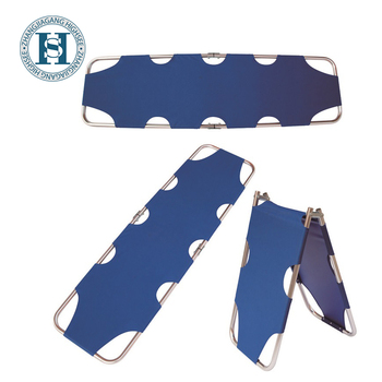 HS-B006 Blue Oxford Cloth Aluminum Alloy Two Folding Emergency Rescue Medical Stretcher