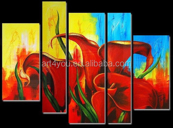 Canvas Flower Painting,Handpaint Decor Abstract Art 28270