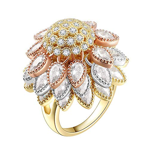 OB Jewelry-Fashion Gold Plated Cocktail Party Ring Clear Cubic Zirconia Statement Ring