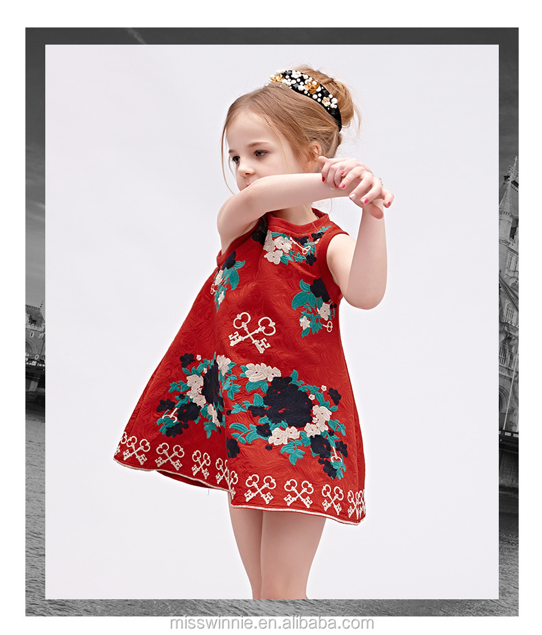 2016 Vintage A-line children frocks designs boutique embroidery kids beautiful model dresses