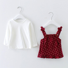 S60736B Kids clothes dress long sleeve t-shirt two pieces