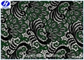 Hongtai custom deep green peacock feathers polyester spandex lace fabric for garment