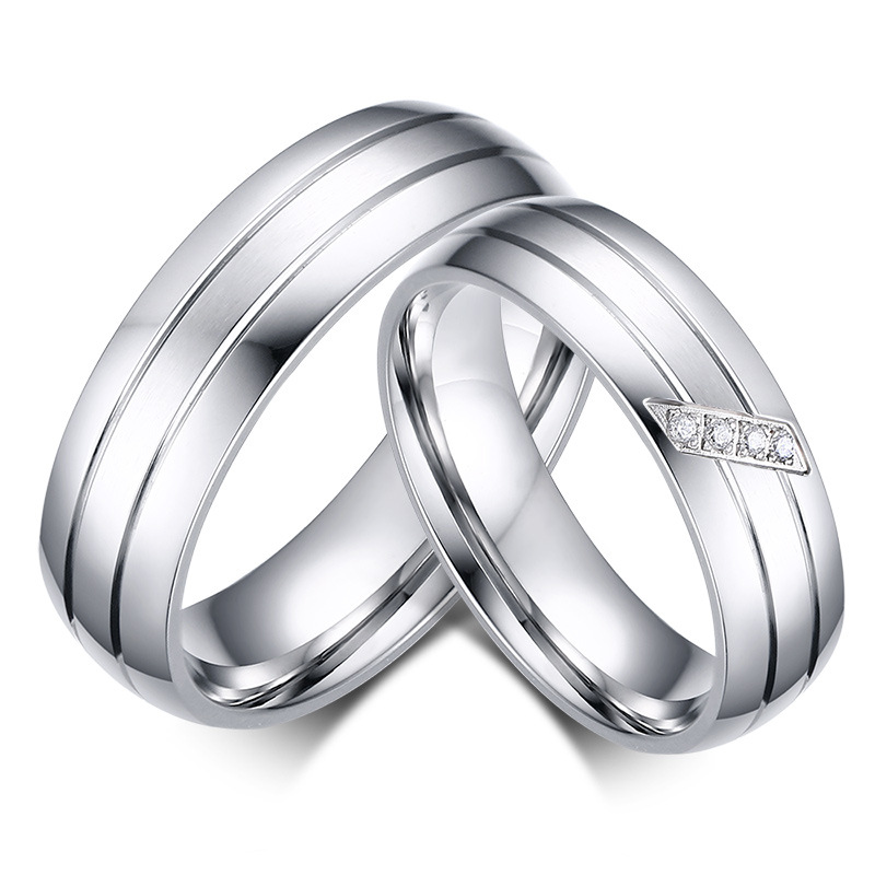 wedding bands 316 stainless steel 6mm setting zircon and Polished couples love band rings