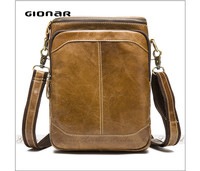 China Wholesale khaki color man leather small mobile phone shoulder bag
