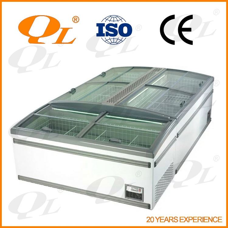 Cheap Open fronted display chillers for snack foods, soft drinks factory serve island counter display showcase freezer