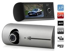 Dual Camera Car Vehicle Camera with GPS Tracking Record (Silver & Black)