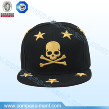 Gold Embroidery Skull Unisex Factory Price Snapback Cap