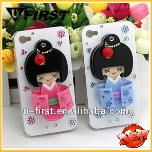 Mixed design 3D cute beauty case ,cartoon girl cover for iphone 4, 4S with mirror case
