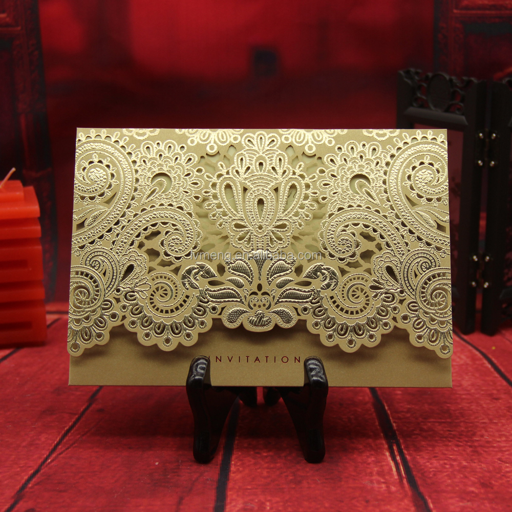 Yiwu manufacturer High quality gold hot stamping laser cut wedding invitation card