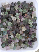 Natural green and purple fluorite tumble stones, eight facets gemstone for gift or decoration