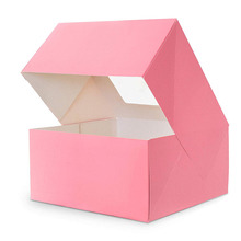 Durable Paper Cupcake Box Pink Cake Box With Window 10x10x5 inch Bakery Box