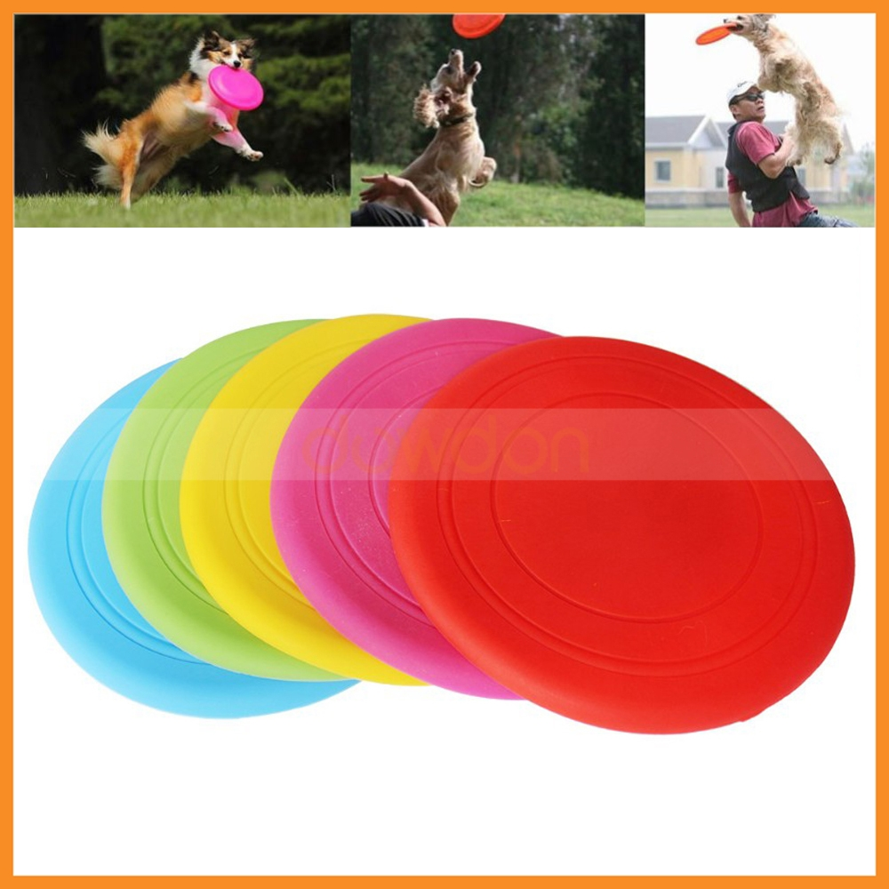 Outdoor Soft Rubber Flyer Frisbee Disc Pet Dog Tooth Resistant Training Fetch Toy