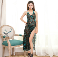 Sexy Peacock Embroidery Cheongsam Long Sleepdress Short Sleeve Sexy Lingerie Nightgowns Pyjamas For Women Elegant Lady Nighties
