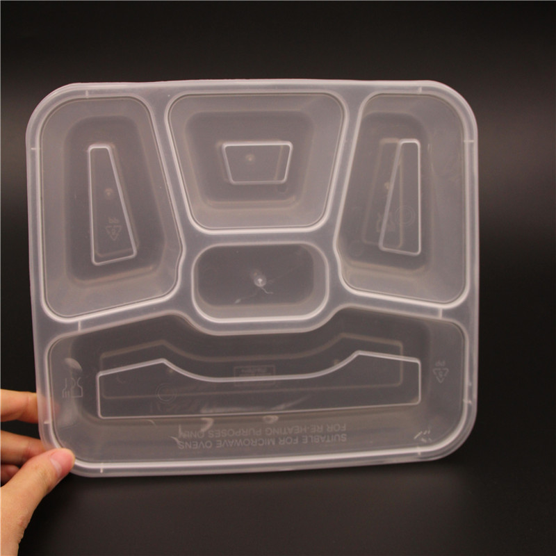 5-compartments thermal food containers with lid