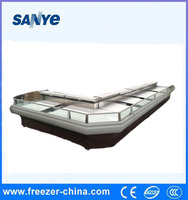 Refrigerated serve over counter used meat display refrigerator with night curtain