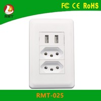 Hot sale GFCI receptacle double/single Brasil outlet USB wall socket Brazil